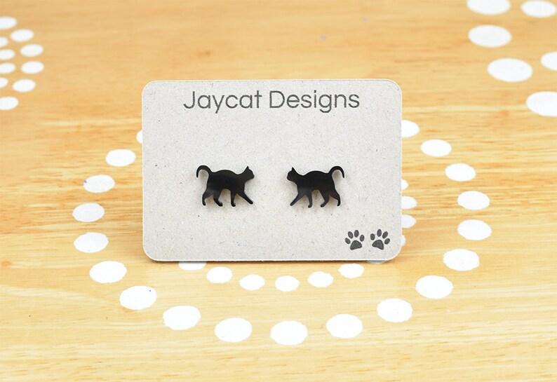 Black Cat Earrings Cat Earrings Cat Silhouette Stud Earrings image 0