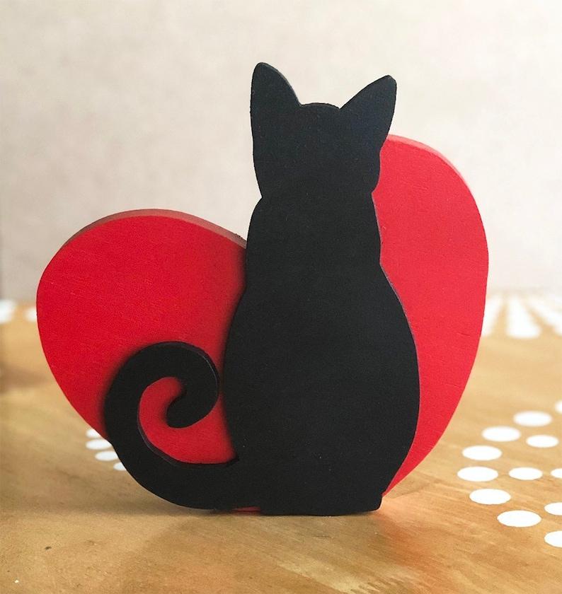 Black Cat Decor Cat Lover Decor Tabletop Centerpiece I image 0
