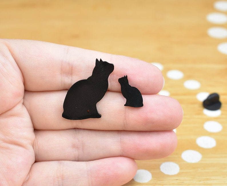 Black Cat Pin Cat Tie Tack Cat Lapel Pin Black Cat Jewelry image 0
