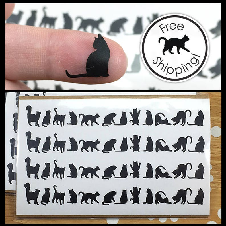 Cat Decals Cat Laptop Decals Tiny Black Cat Stickers Small image 0