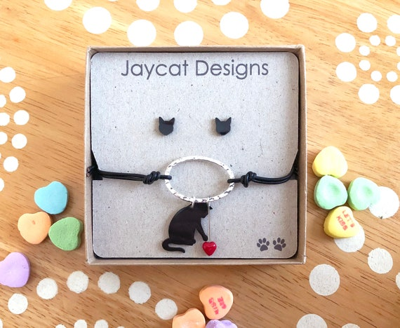 Cat With Heart Bracelet and Earrings Set