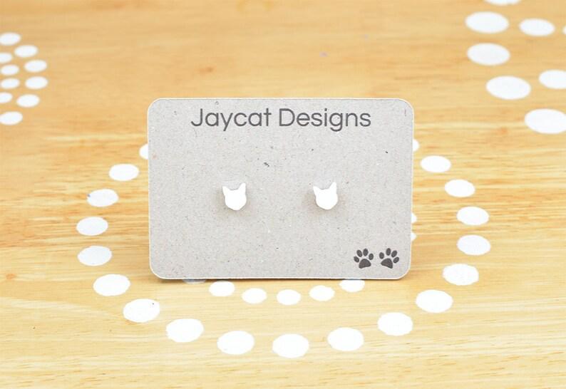 Cat Earrings Tiny Cat Earrings White Cat Earrings Cat Stud image 0