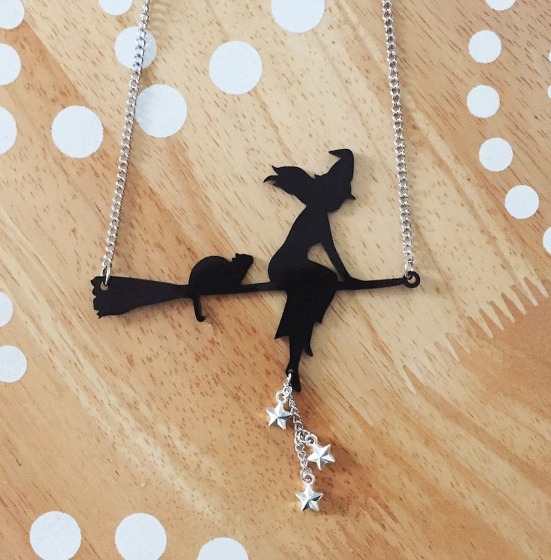 Halloween Witch Necklace Halloween Necklace Cat Necklace image 0