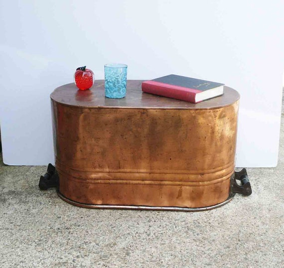 Copper Coffee Table Antique Copper Boiler Large Planter Etsy