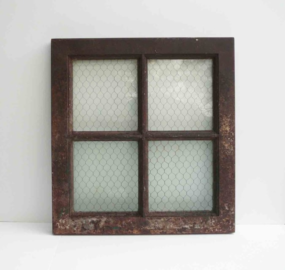 Items Similar To Vintage Metal Window Chicken Wire Glass