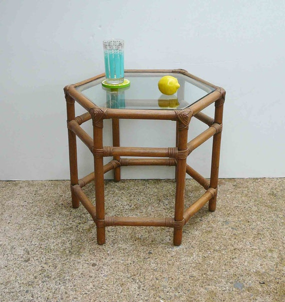 Vintage Rattan Table Faux Bamboo Table Mid Century Furniture Glass Top Bohemian Chic Side Table Boho Chic End Table Beach Natural Decor