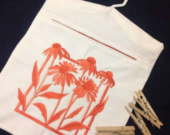 Clothes Pin Bag embroidered with coneflowers, embroidered peg bag