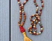 MALA PRAYER BEADS w Genuine Jasper Rudraksha, Reiki Energy Chakra Healing 6mm Gemstone Mini Red Ganesha Knotted by Ganapati Sarasvati