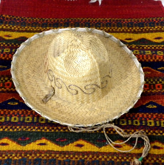 Vintage Childs Mexican Straw Hat Sombrero Mexico,