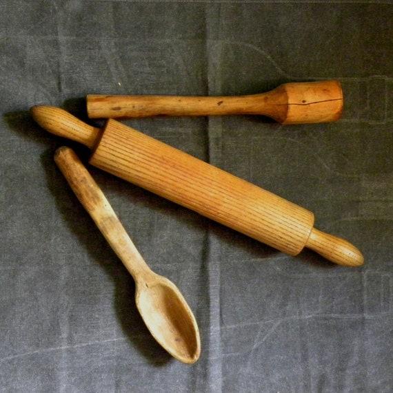 Rolling Pin Wooden Spoon Wood Scoop Masher Primitive Wooden Utensils