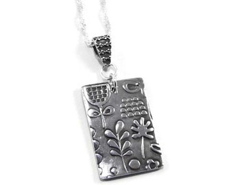 5f03ed000 Dog Tag Style Necklace. Fine Silver Necklace. Precious Metal Clay. Textured  Necklace. Silver Necklace. Oxidized Silver. PMC. Silver Pendant.