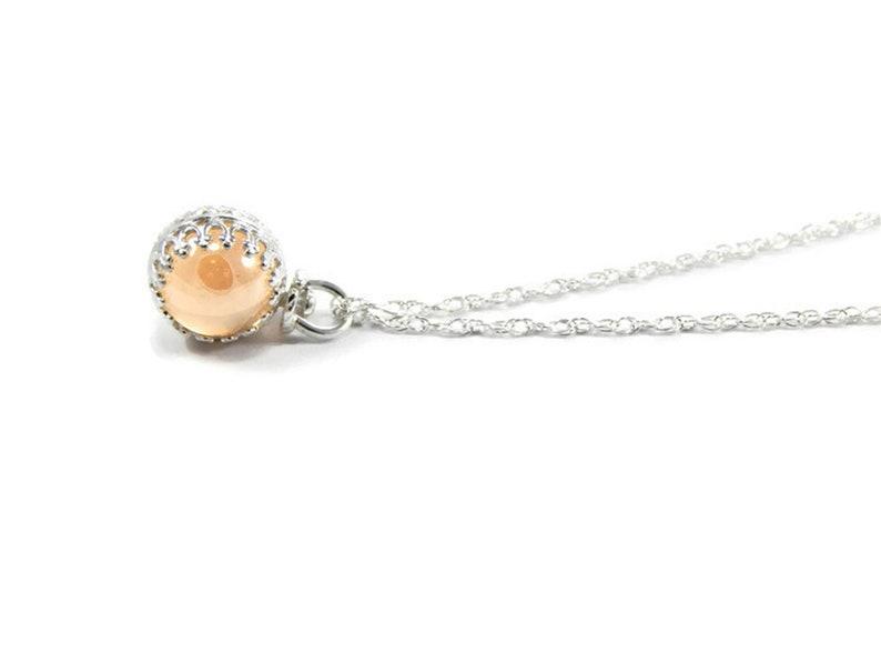 Orange Aura Sphere Necklace Petite Mystic Orange Aura Sphere Necklace Quartz Sphere. Mystic Orange Aura Sphere Necklace Orb Necklace