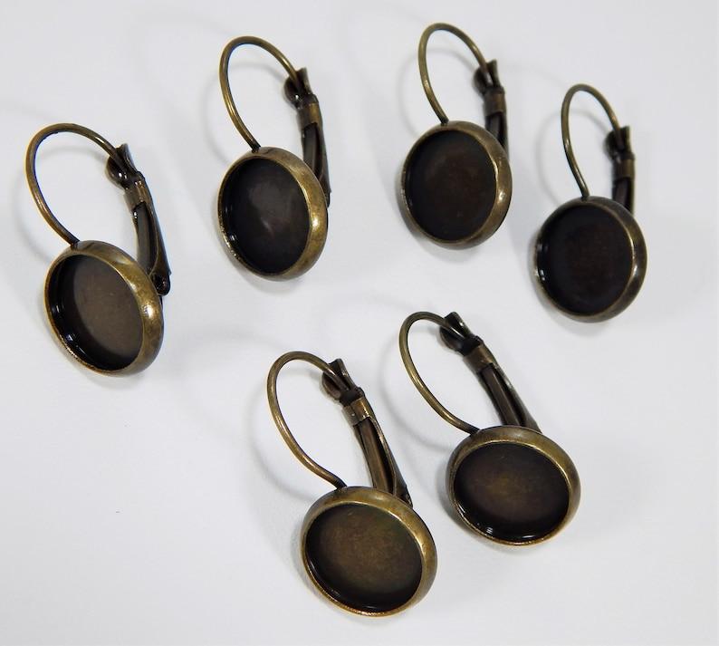 Lever Backs Antique Brass Plated Bezel Setting Leverbacks Lead-Free Destash Nickel-Free 12mm Bezel Three Pair.