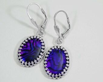 Paua Shell Earrings. Purple Paua Shell Earrings. Paua Shells in Sterling Silver Setting. Dangle Earrings. Drop Earrings.
