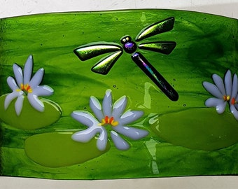 original fused glass art freestanding Dragonfly and waterlillies