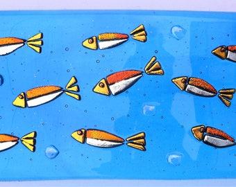 Tropical fish, fused glass art, freestanding, original art