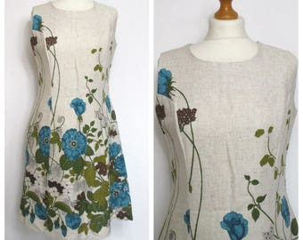 Vintage NOS 60s 70s Blue and Green Floral Mod Shift Dress - BNWT Scooter Minidress - M L