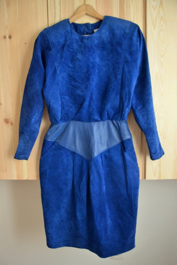 80's Leather Royal Blue Dress/ Suede Dress/