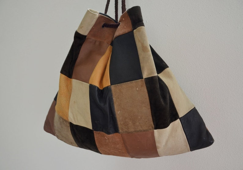 Patch leather bag Vintage Leather Square Patchwork Shopper bag Handmade Brown Toned Patchwork Leather Pouch 1970s