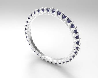 Elegant twisty 1.5mm Sapphire Eternity ring ( stackable )