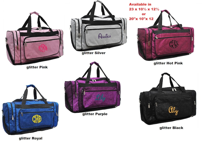 Personalized extra large Glitter Duffle bags in 2 fantastic  6e07790828c0b