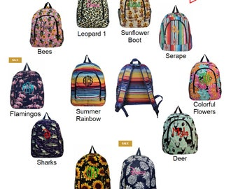 Personalized Backpacks with New Styles. Some Styles on Sale! Limited quantities, Get them while they last!