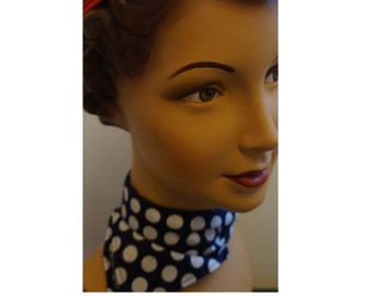 Polka Dot Scarf, Navy and White Neck Scarf, Rockabilly Clothing, Hollywood Glamour, Pin Up Girl, Pin Up Clothing, Pin up, Summer Scarf, 50s