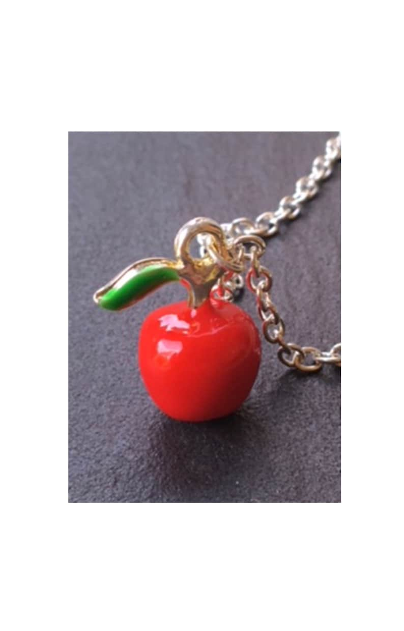 Snow White Disney princess necklace Fairy tale necklace Apple necklace Snow white apple charm choker on silver plated chain Disney