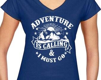 Adventure is calling V-Neck Ladies T-Shirts Hiking road trip Hand printed