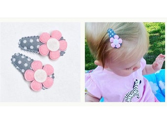 Set of 2 3 cm baby/ toddler hair clips hair clips flower flower grey uni pink dots