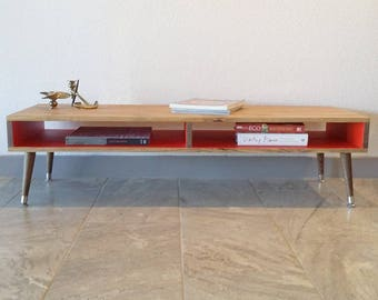 Mid Century Modern Coffee Table, Wood Legs, Desk, TV, Entertainment, Media Cabinet, Console, Stand, Storage, Shelf, Case Modern
