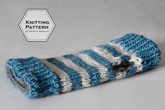 Knitting Pattern Fingerless Gloves Reversible Chunky Texting Etsy
