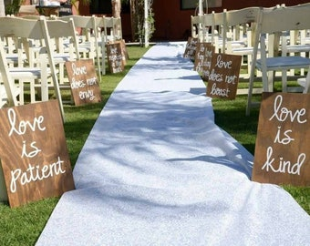 Set of 10 Corinthians 13 Signs, Wedding Aisle Signs, Hand Painted Wood, Love is Patient, Love is kind, Love never fails, Custom Made