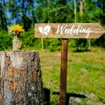 Wedding Road Sign, Custom Wood Wedding Sign on Stake, Outdoor Wedding, Rustic Wedding Sign, Ceremony Signage, Arrow Sign, Directional Sign