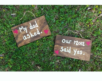 Blended Family Engagement Sign, Wooden Engagement photo prop sign, made to order, Engagement Sign, Parents Engagement Announcement