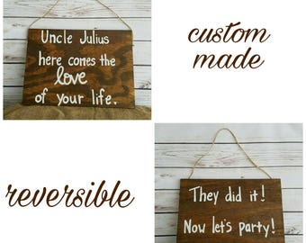 Ring Bearer Signs, Flower Girl Signs, Reversible, Double Sided, Wedding Entrance Signs, Uncle Wedding Sign, Wedding Aisle Signs, Custom