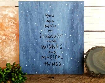 Outer Space Nursery Decor, Celestial Art, Boho Wood Sign, Galaxy Art, Astrology Gift, Astrology Decor, You are made of stardust, Custom Art