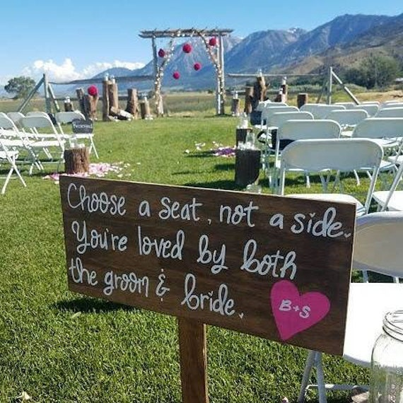 Outdoor Wedding Decor Rustic Wedding Sign Ceremony Signage Wood Wedding Signs Seating Plaque Choose A Seat Not A Side Pick A Seat