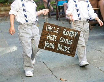 Ring Bearer Signs, Flower Girl Signs, Wedding Entrance Signs, Uncle Here Comes Your Bride, Wood Wedding Signage, Rustic Wedding Signs