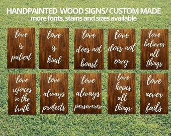Set of 10 Wedding Aisle Signs, 1 Corinthians 13 Wedding Signs, Love is Patient, Love is Kind, Hand Painted Wood Wedding Signage, Love Signs
