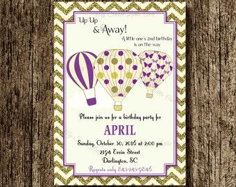 Hot air balloon invitation - balloon printable - balloon invite - balloon birthday - hot air balloon baby shower - purple hot air balloon