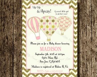 Hot air balloon invitation - balloon printable - balloon invite - balloon birthday - hot air balloon baby shower - gold pink hot air balloon