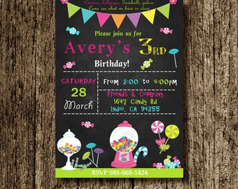 Candy invitation -  candy land birthday -  candy printable - candy invite - candy land invitation - candy party