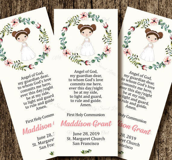 First Communion Favor Card Holy Communion Remembrance Card Etsy