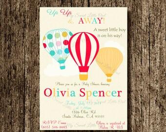 Hot air balloon invitation - balloon printable - balloon invite - balloon birthday - hot air balloon baby shower - hot balloon label