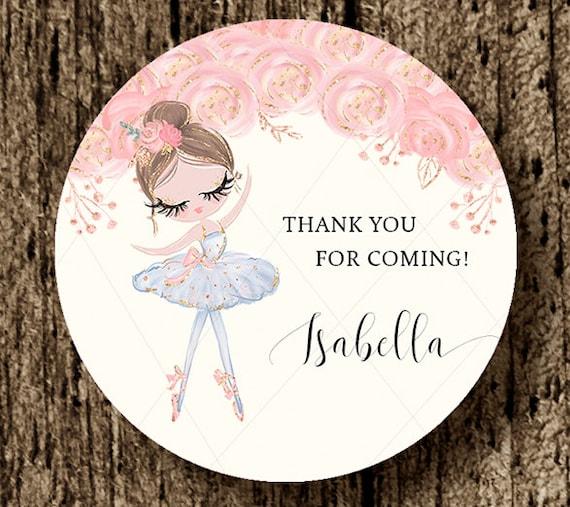 Ballerina sticker ballet favor tag gold ballerina
