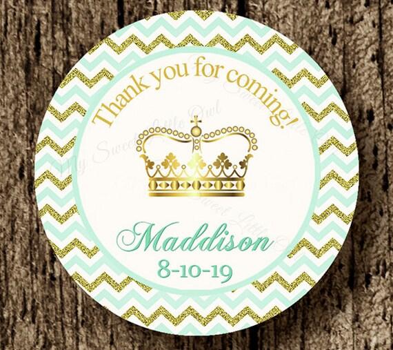 Princess Gold Sticker Crown Label Gold Mint Princess Etsy