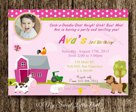 Barnyard Birthday Invitation Girl Farm Invitation Barnyard
