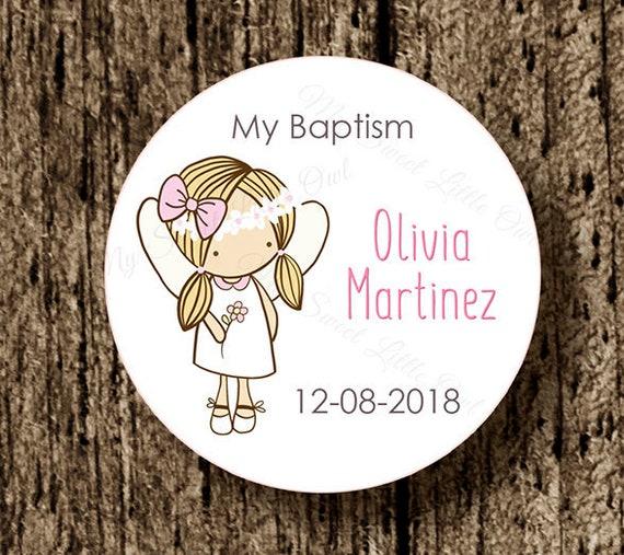 Taufe Danke Aufkleber Mädchen Taufschild Rosa Taufe Gunst Tag Engel Bedruckbar Engel Aufkleber Spanisch Auch Digitale Datei