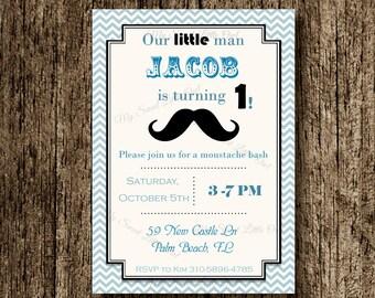 Moustache invitation - moustache invite boy - blue moustache printable -  boy moustache - moustache birthday - boy party